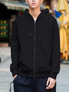 Black Loose Hooded Drawstring Long Sleeve Men Jacket for Casual Sporty