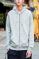 Light Gray Loose Hooded Drawstring Long Sleeve Men Jacket for Casual Sporty
