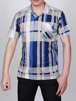 Colorful Loose Plus Size Lapel Linking Stripe Colar Men Shirt for Casual Party Office