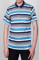 Blue and White and Gray Loose Plus Size Lapel Stripe Leisure Linking Collar Men Shirt for Casual Party Office