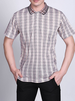 Khaki Loose Plus Size Lapel Grid Linking Leisure Collar Men Shirt for Casual Party Office