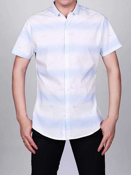 White and Blue Slim Plus Size Lapel Leisure Linking Single-breasted Collar Button-Down Men Shirt for Casual Party Office
