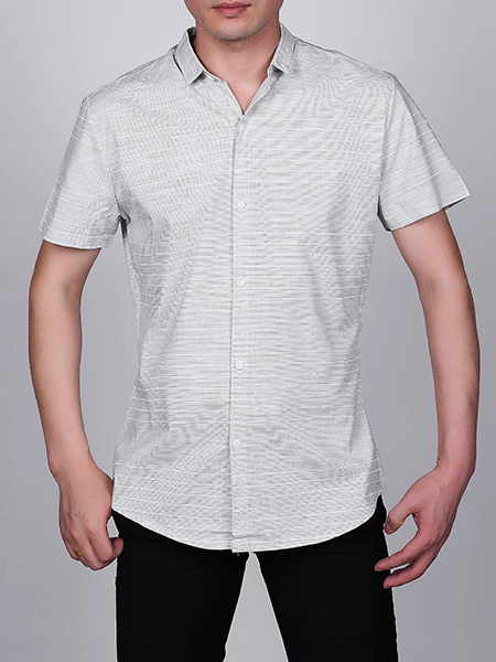 Gray Slim Plus Size Lapel Leisure Linking Single-breasted Stripe Collar Button-Down Men Shirt for Casual Party Office