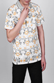 White Gray and Yellow Loose Plus Size Lapel Linking Leisure Geometric Pattern Collar Men Shirt for Casual Party Office