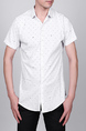 White Slim Plus Size Lapel Leisure Linking Single-breasted Collar Button-Down Men Shirt for Casual Party Office