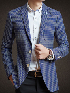 Blue Plus Size Slim Lapel Grid Buttons Long Sleeve Men Suit for Evening Office