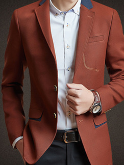 Brown Plus Size Slim Lapel Buttons Contrast Fillet Pockets Long Sleeve Men Suit for Evening Office