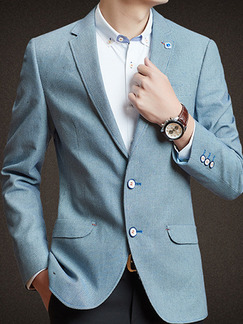 Blue Plus Size Slim Lapel Fillet Buttons Pockets Long Sleeve Men Suit for Evening Office