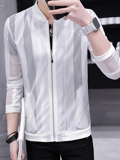 White Plus Size Slim Stand Collar Cut Out See-Through Long Sleeve Men Jacket for Casual
