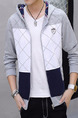 Blue Grey and White Plus Size Slim Hooded Contrast Linking Grid Pockets Long Sleeve Men Sweater for Casual