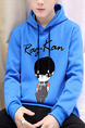 Blue Plus Size Slim Hooded Drawstring Letter Printed Cartoon Long Sleeve Men Hoodies for Casual
