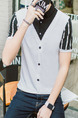 White and Black Plus Size Slim Seem-Two Contrast Linking Stripe Lapel Buttons Men Shirt for Casual