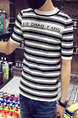 Black and White Plus Size Slim Contrast Stripe Round Neck Letter Printed  Men Shirt for Casual