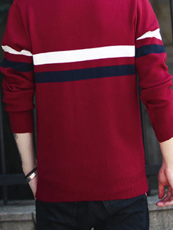 Red White and Black Plus Size Slim V Neck Contrast Stripe Long Sleeve Men Sweater for Casual