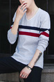 Grey Blue and Red Plus Size Slim V Neck Contrast Stripe Long Sleeve Men Sweater for Casual