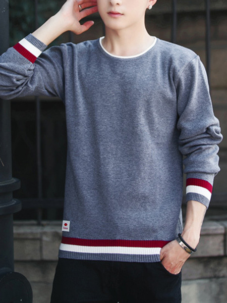 Grey Red and White Plus Size Slim Round Neck Contrast Linking Stripe Long Sleeve Men Sweater for Casual