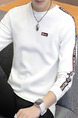 White Plus Size Slim Round Neck Contrast Linking Letter Printed Long Sleeve Men Sweater for Casual