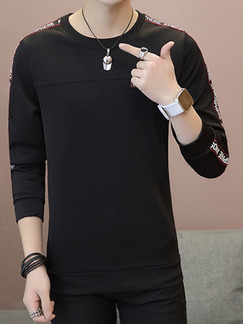 Black Plus Size Slim Round Neck Contrast Linking Letter Printed Long Sleeve Men Sweater for Casual