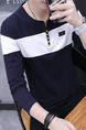 Blue and White Plus Size Slim Contrast V Neck Buttons Men Shirt for Casual