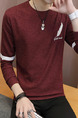 Red Plus Size Slim Contrast Linking Embroidery Round Neck Men Sweater for Casual