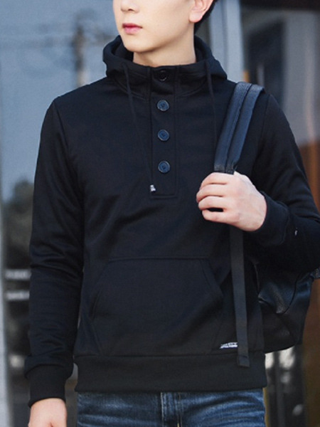 Black Plus Size Slim Hooded Buttons Pockets Long Sleeve Men Hoodies for Casual