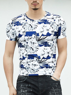 White and Blue Plus Size Slim Printed Round Neck Floral Men Tshirt for Casual