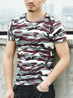Grey Red and Black Plus Size Slim Camouflage Printed Round Neck  Men Tshirt for Casual