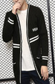 Black Plus Size Loose Contrast Linking V Neck Pockets Three-Buttons Long Sleeve Men Cardigan for Casual