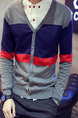 Blue Red and Grey Plus Size Slim Contrast Linking V Neck Single-Breasted Long Sleeve Men Sweater for Casual