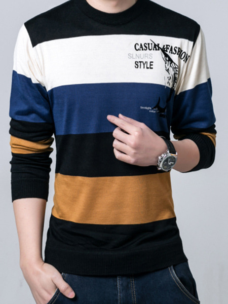 Colorful Plus Size Slim Contrast Linking Letter Printed Located Printing Long Sleeve Men Sweater for Casual