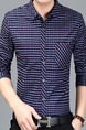 Blue Plus Size Slim Contrast Grid Single-Breasted Pocket Men Shirt for Casual Office