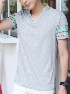 Grey and Green Plus Size Slim V Neck Linking Printed Men T-shirt for Casual