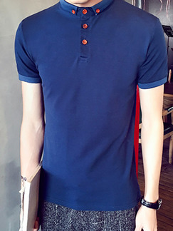 Blue Plus Size Slim Polo Collar Buttons Men T-shirt for Casual