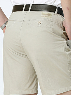 Beige Pockets Men Shorts for Casual