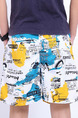 White Colorful Loose Letter Printed Men Shorts for Casual