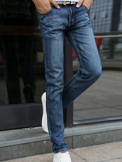 Dark Blue Slim Denim Men Pants for Casual