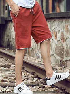 Red Loose Pure Color Plus Size Men Shorts for Casual Sporty
