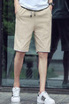 Khaki Loose Pure Color Plus Size Men Shorts for Casual Sporty