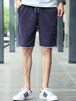 Navy Blue Loose Pure Color Men Shorts for Casual Sporty