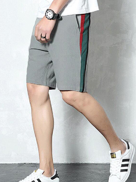 Gray Loose Side Stripe Plus Size Men Shorts for Casual Sporty