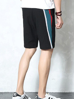 Black Loose Side Stripe Plus Size Men Shorts for Casual Sporty