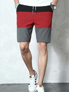 Red Loose Contrast Linking Plus Size Men Shorts for Casual Sporty
