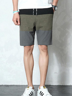 Army Green Loose Contrast Linking Plus Size Men Shorts for Casual Sporty