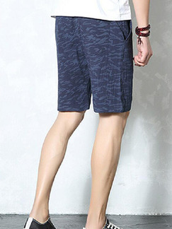 Navy Blue Loose Camouflage Plus Size Men Shorts for Casual Sporty
