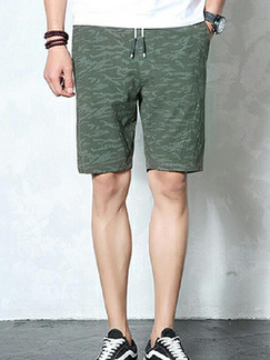 Army Green Loose Camouflage Plus Size Men Shorts for Casual Sporty