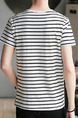 White Loose Contrast Stripe T-Shirt Plus Size Men Shirt for Casual Party
