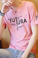 Pink Loose Letter T-Shirt Plus Size Men Shirt for Casual