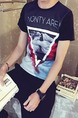 Black Loose Located Printing Letter T-Shirt Men Shirt for Casual