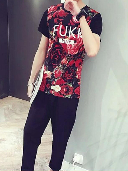 Red Colorful Loose Located Printing Letter T-Shirt Floral Men Shirt for Casual Party