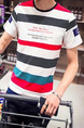 Colorful Slim Contrast Stripe T-Shirt Men Shirt for Casual Party